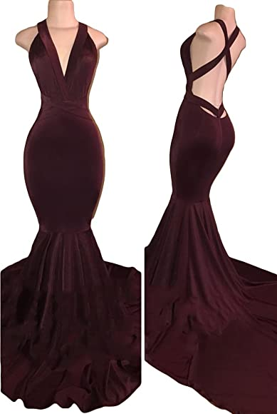 f6b243ee5885 VikDressy Women's Sexy Backless Mermaid Prom Dresses 2018 Long Velvet  Evening Gowns