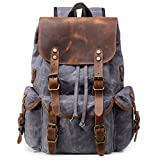 Kemy's Canvas Backpack for Women Vintage Leather Bookbag Daypack Leather Travel Rucksack,Grey