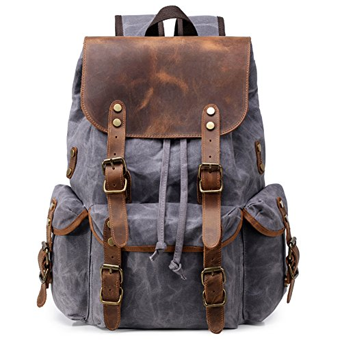 Kemy's Men Waxed Canvas Backpack Waterproof Wax Leather Rucksack Vintage Laptop Bookbag Rugged Flap Drawstring Daypack Travel Unisex Large Grey Thanksgiving ()