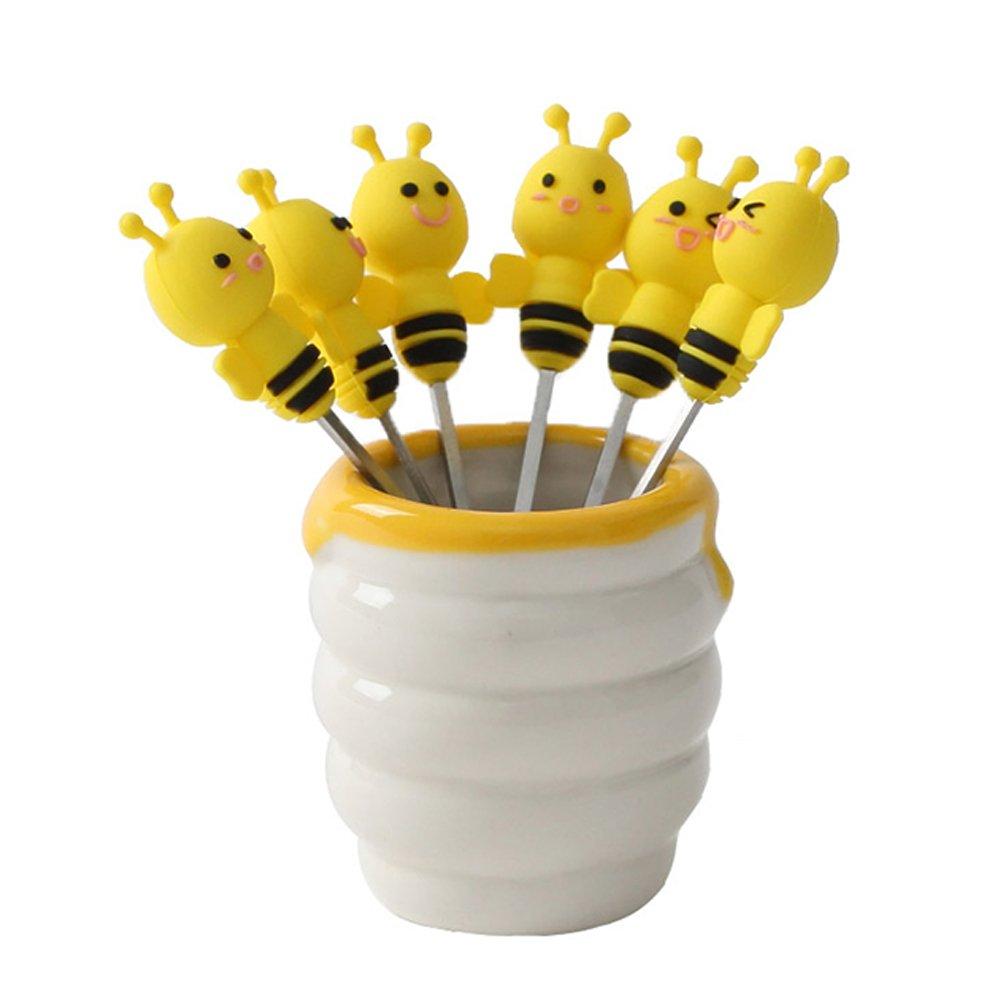 WAIT FLY Cute Bee Shape Mini Fruit Forks With 6pcs Mini Forks Holder Organizer Set Dinnerware Set for Kitchen