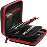 BRENDO Carrying Case for Nintendo 2DS with 24 Game Storage Holders, Fits Wall Charger - Black/Red