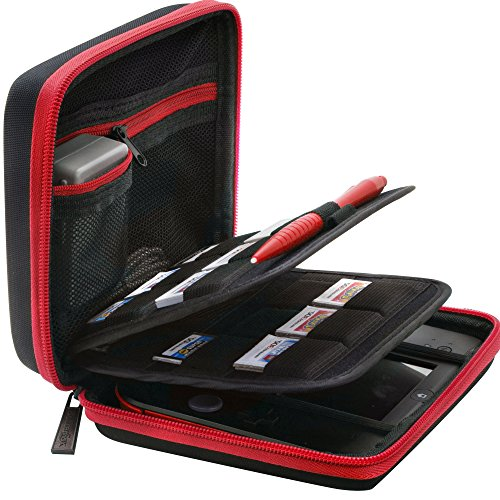- BRENDO Carrying Case for Nintendo 2DS with 24 Game Storage Holders, Fits Wall Charger - Black/Red