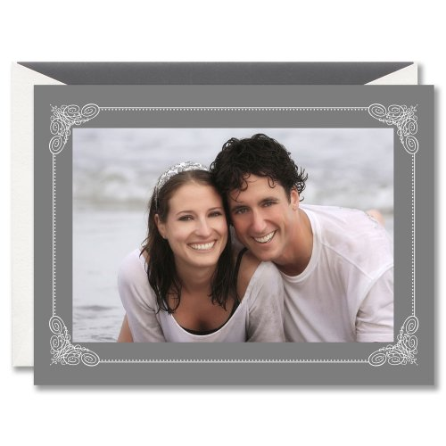 Crane & Co. Engraved Scroll Frame on Gray Holiday Photo Mount Cards