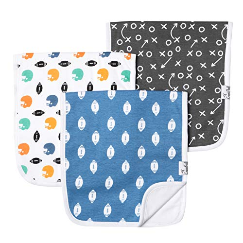 Baby Burp Cloth Large 21x10 Size Premium Absorbent Triple Layer 3-Pack Gift Set Quarterback by Copper Pearl
