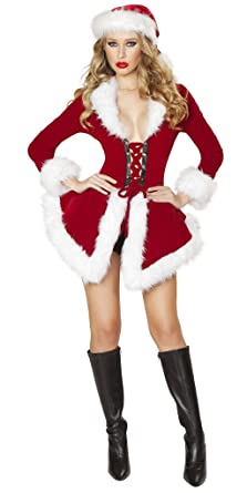 Sexy Velvet Secret Santa Holiday Two Piece - Red/White - Small
