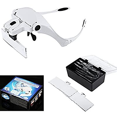 New Loupe Binoculaire Headband Magnifying Glasses Magnifier Interchangeable 5 Lenses Microscope With Led Lights Lupas De Aumento