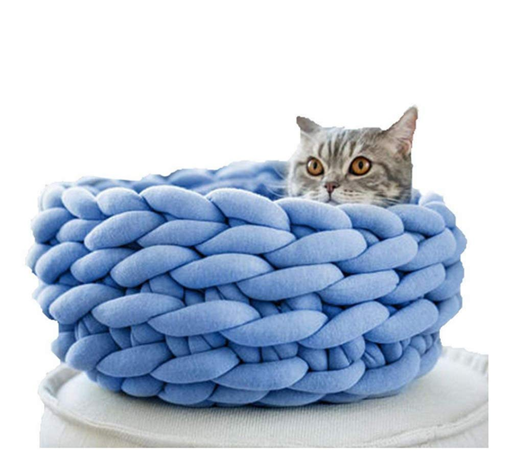 bluee 35cm bluee 35cm Braid Cat Cave Handmade Pet House Basket Chunky Crochet Cat Bed (35cm, bluee)