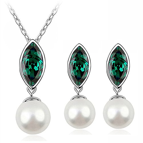ystal Necklace Drop Earrings Set Pearl Jewelry Set Wedding Jewelry for Women (Green) (Light Green Necklace)
