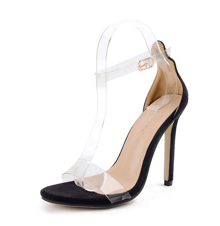 Buena JAZS® Zapatos Europeos y Americanos Sandalias Transparentes  Minimalismo de Tacón Alto Zapatos de Pasarela dbceb660695d