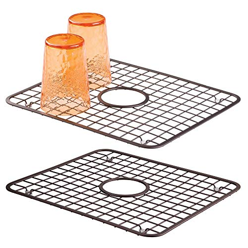 mDesign Modern Kitchen Sink Metal Dish Drying Rack/Mat with Center Drain Hole - Steel Wire Grid Design - Allows Wine Glasses, Mugs, Bowls and Dishes to Drain in Sink - 2 Pack - Bronze (Bowl Steel Grid)