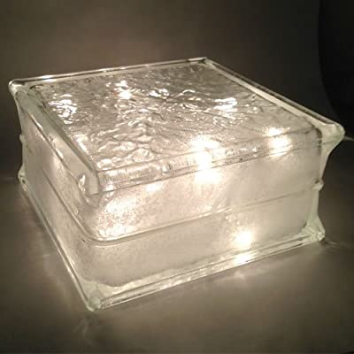 Lighted Glass Block with Clear Christmas Lights