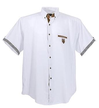 Übergrössen !!! Schickes Kurzam-Hemd LAVECCHIA 1128 in Weiß 3XL