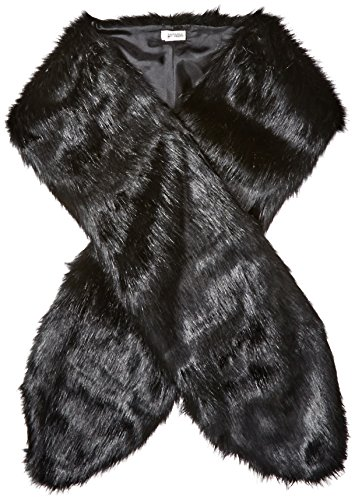 BADGLEY MISCHKA Women's Faux Mink Stole Shawl with Solid Lining, Black, One Size by Badgley Mischka