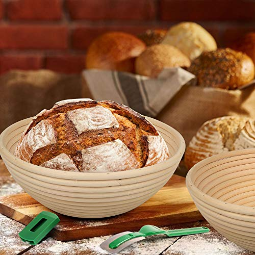LotFancy Banneton Proofing Basket Set of 2, 9 Inch Round Proofing Bowls for Sourdough Bread, Incudes Linen Liner Cloth, Dough Scraper, Bread Lame, Brush, Instructions Book, Non-Stick