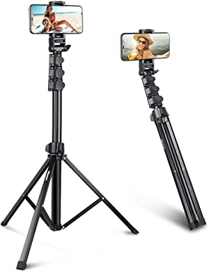 UBeesize 67'' Phone Tripod Stand & Selfie Stick Tripod, All in One Professional Cell Phone Tripod, Cellphone Tripod with Bluetooth Remote and Phone Holder, Compatible with All Phones/ Cameras