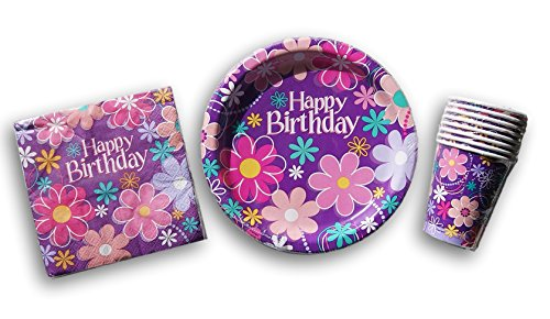 13' Round Plate (Flower Power Birthday Party Set - Plates, Napkins, Cups)