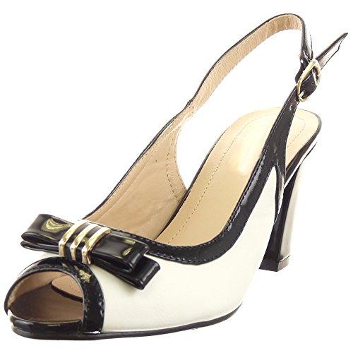 Sopily - Zapatillas de Moda Sandalias Tacón escarpín Abierto Caña baja mujer brillantes nodo Talón Tacón ancho alto 7.5 CM - Negro