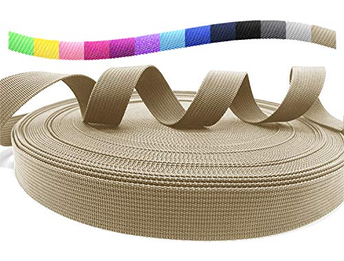 (TheHonestBill Heavyweight Polypropylene Webbing 1 Inch Wide for DIY pet products, straps, Bags, Canoe Seat, Furniture, Slings (Khaki, 1