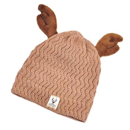 (zenicham Christmas Deer Horn Wave Children's Wool Hat Baby Hat)