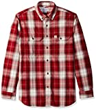 Carhartt Men's Fort Plaid Long Sleeve Shirt, Dark Crimson, X-Large