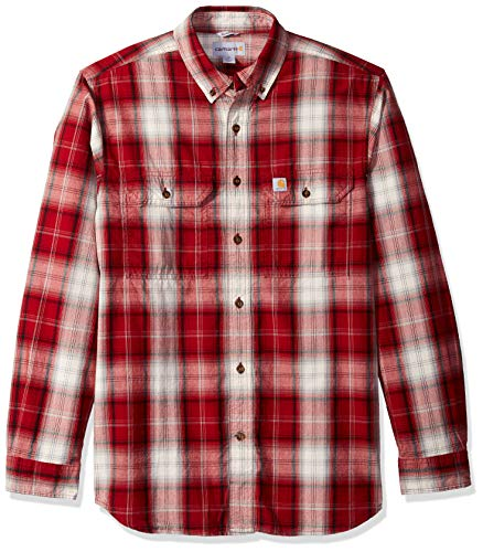 - Carhartt Men's Fort Plaid Long Sleeve Shirt, Dark Crimson, X-Large