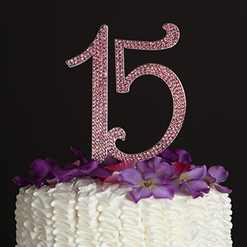 15-Cake-Topper-for-15th-Birthday-Anniversary-or-Quinceaera-Crystal-Rhinestone-Party-Decoration-Pink