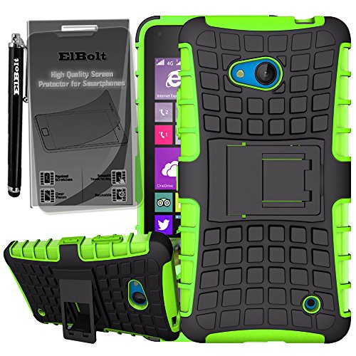 Microsoft Nokia Lumia 640 Grenade Combat Case by ElBolt® with Kick Viewing Stand - Green with Free Pocket Clip Stylus Pen and HD Screen Protector