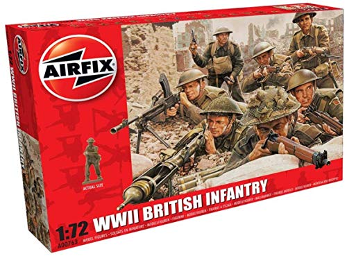 Airfix A00763 WWII Soldier Figures 1:72nd Scale Military Figurine, (Pack of 48)