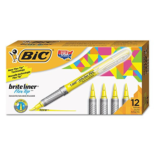 BIC GBLB11YE Brite Liner Flex Tip Highlighters, Brush Tip, Yellow, 1 ()