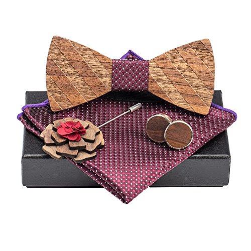 d57d265387e7 Amzchoice Classic Handmade Mens Wood Bow Tie with Matching Pocket Square  Men's Cufflinks Lapel Flower Set