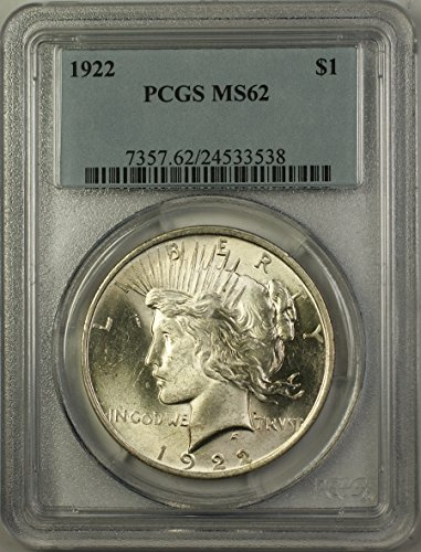 1922 Peace Silver Dollar Coin (ABR12-F) Better Coin $1 MS-62 PCGS