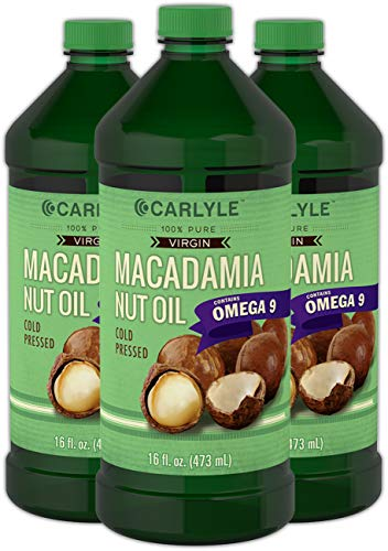 Carlyle Macadamia Nut Oil 3 Pack 16oz Premium Cold Pressed 100% Pure Virgin | Vegetarian, Non-GMO, Gluten Free Food Grade | Safe for Cooking, Great for Hair and -