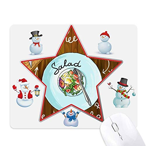 Salad Cheese Figs France Restaurant Christmas Snowman Family Star Mouse Pad