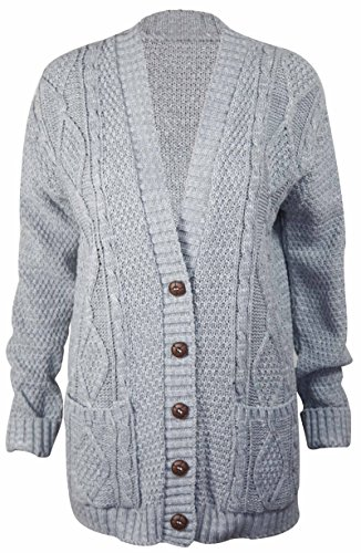 (PurpleHanger Women's Long Sleeve Cable Knit Chunky Cardigan Light Grey 8-10)