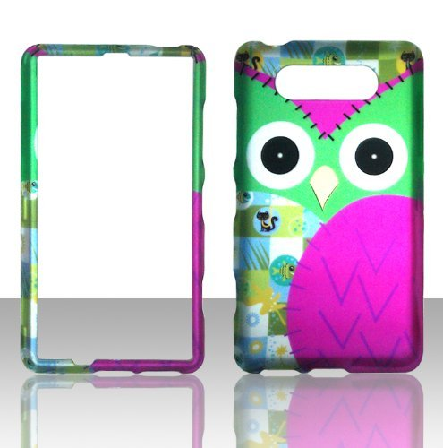 2D Green Owl Nokia Lumia 820 AT&T Case Cover Hard Phone Case Snap-on Cover Rubberized Touch Protector Faceplates ()