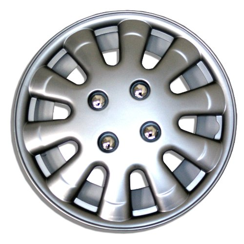 TuningPros WSC-303S15 Hubcaps Wheel Skin Cover 15-Inches Silver Set of