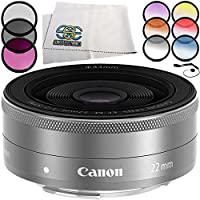Canon EF-M 22mm f/2 STM Lens (Silver) 5PC Accessory Bundle – Includes 3 Piece Filter Kit (UV + CPL + FLD) + 6PC Graduated Filter Set + MORE (White Box)