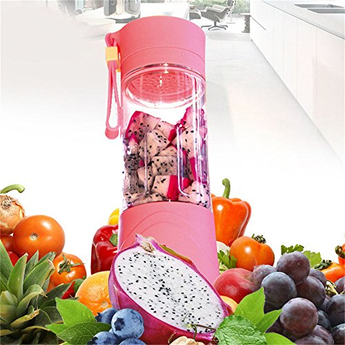 Katoot@ Mini Pink Portable Rechargeable USB Electric Fruit Juicer Smoothie Maker Blender (Pink)