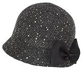 Vintage Wool Blend Round Cloche Hat, Sequin Wide Brim Bucket Cap w/Attachable Bow (Black)