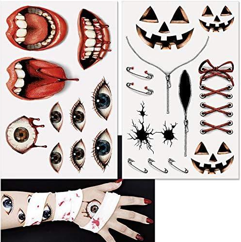 コスプレ ハロウィン 仮装 タトゥシール 2枚セット 傷跡 ホラー ゾンビ 特殊メイク コスチューム