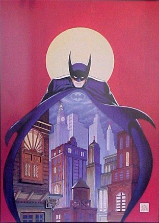 'Batman Night Vigil Over Gotham' Framed Limited Edition Lithograph Signed by Bob Kane W/ COA