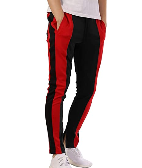 0fa5ddbbf9abd5 ZAXARRA Men s Athletic Skinny Track Pants Tracksuit Fitness Gym Workout Joggers  Sweatpants (US-S