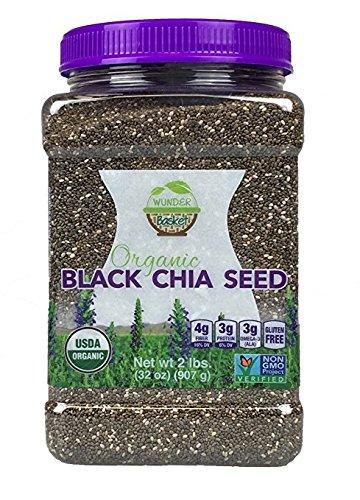 Wunder Basket Organic Black Chia Seeds, 2 LB Jar, w/Scoop (Pack of 1)