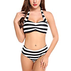 Women High Waisted Swimwear Push up Bikini Set Halter Underwired Swimsuits 51ovQ8yR2JL