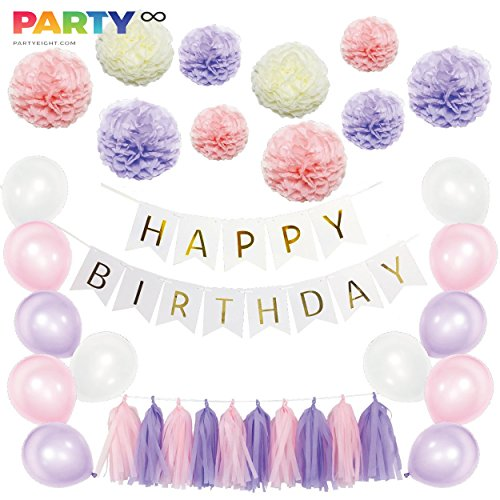 Happy Birthday decorations, party supply, all-in-1 kit, Purple/Pink/White, foiled banner flag, paper fluffy Flower, pom poms flowers kit