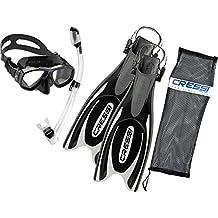 Cressi Frog Plus Fin Focus Silicone Mask Dry Snorkel Set - White - Medium / Large