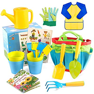 INNOCHEER Kids Gardening Tools with STEM Learning Guide, Watering Can, Gardening Gloves, Shovel, Rake, Trowel & Garden Accessories - Outdoor and Learning Toys All in One Tote( 18 Pieces): Toys & Games