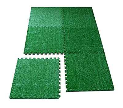 LaFamille Artificial Grass Interlocking Foam Mat 6 Tiles 24 sq ft Grass Carpet For Balcony, Patio, Gym, Playroom, Tradeshow, Garden 2'x 2'