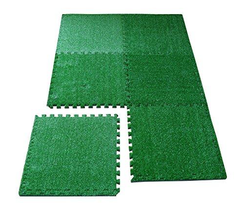 LaFamille Artificial Grass Interlocking Foam Mat 6 Tiles 24 sq ft Grass Carpet For Balcony, Patio, Gym, Playroom, Tradeshow, Garden 2'x (Outdoor Foam Mats)