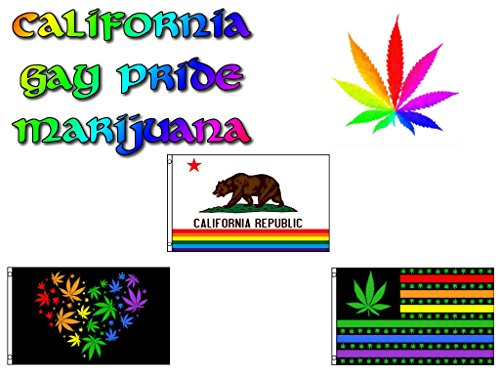 ALBATROS 3 ft x 5 ft ft Lot California Gay Pride Marijuana Weed Set Flags Flag for Home and Parades, Official Party, All Weather Indoors Outdoors]()
